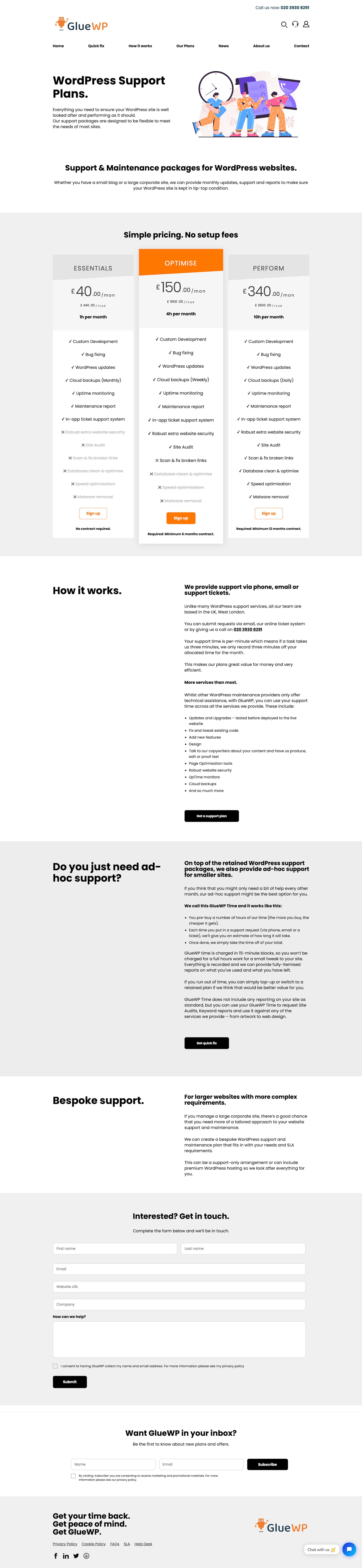 GlueWP WordPress Support Plans